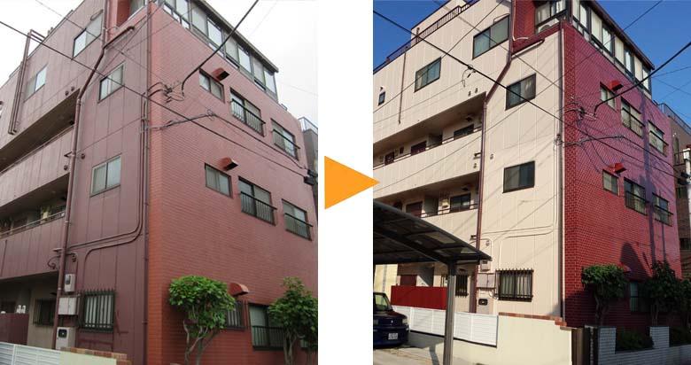 H様アパート外壁塗装施工前と後