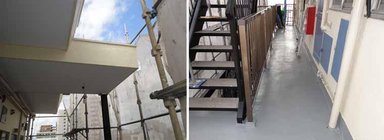 マンション外壁塗装施工前と後