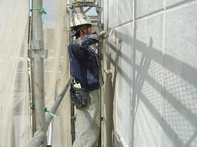 N様ビル外壁塗装施工現場