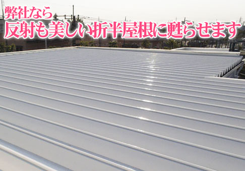 塗り替えた工場の折半屋根の画像