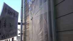 東松山市I様邸h25_施工・外壁塗装養生作業