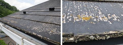 飯能市S様邸外壁、無料診断コロニアル屋根劣化とコケ発生写真