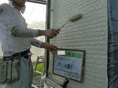 H29.1月川越市Y様邸外壁塗装上塗り