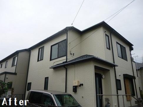 H29.4月坂戸市O様邸外壁・屋根塗装施工後全体