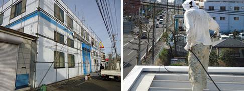 工場折半屋根塗装、高圧洗浄、ケレン
