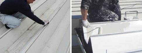 工場折半屋根、ケレン、下塗り(錆止め)